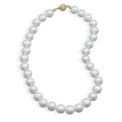 "16.5"" 10.5-11.5mm Cultured Freshwater Pearl Necklace with a Yellow Gold Clasp"