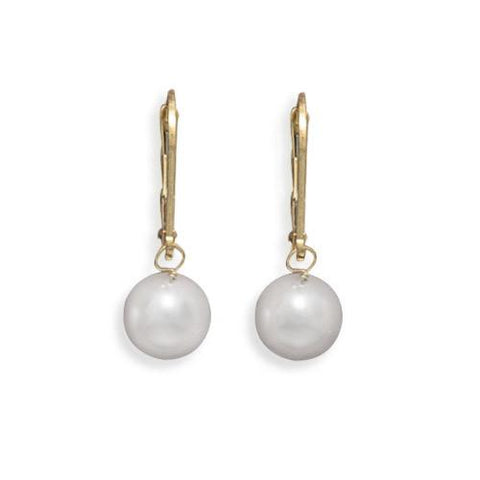 Grade AAA 7.5-8mm Cultured Akoya Pearl Drop Earrings with Yellow Gold Lever Backs