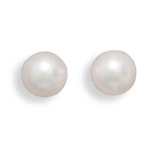 Grade AAA 7-7.5mm Cultured Akoya Pearl Earrings with White Gold Posts and Earring Backs