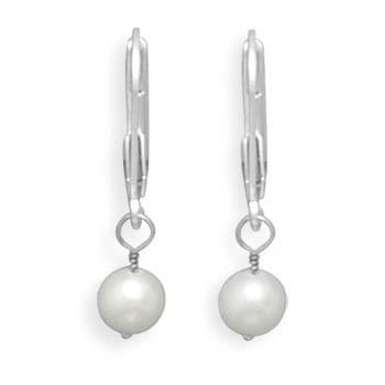 5-5.5mm Freshwater Pearl Drop Earrings with White Gold Lever Backs