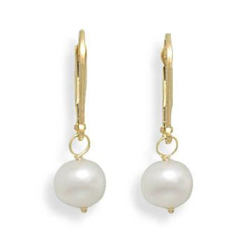 6.5-7mm Freshwater Pearl Drop Earrings with Yellow Gold Lever Back