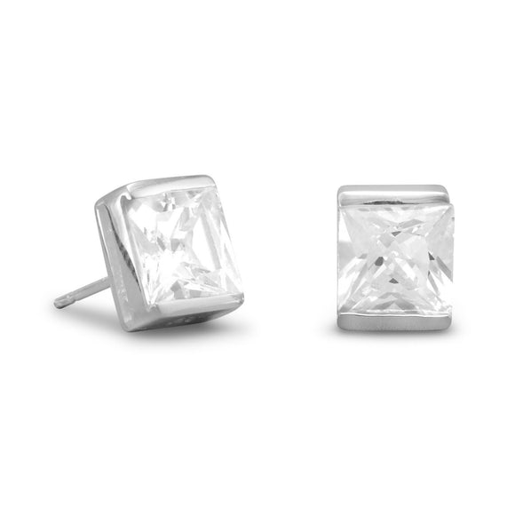 7mm Square CZ Post Earrings