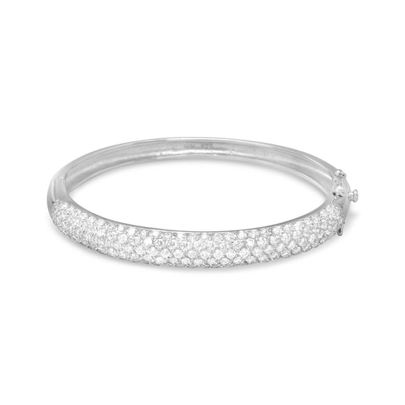 Rhodium Plated Pave CZ Bangle