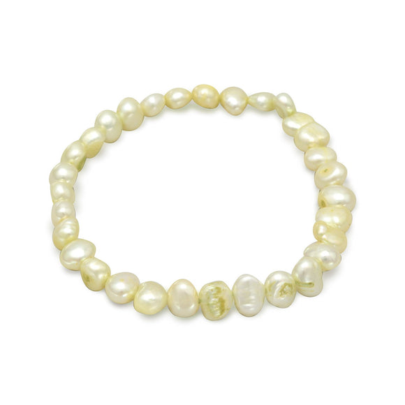 Lime Green Cultured Freshwater Pearl Stretch Bracelet