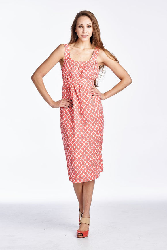 Women's Printed Tie-Back Linen Dress