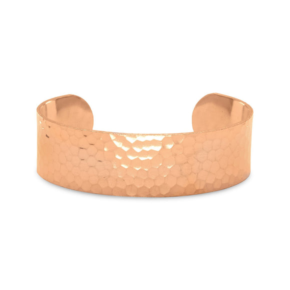 19mm Hammered Solid Copper Cuff Bracelet