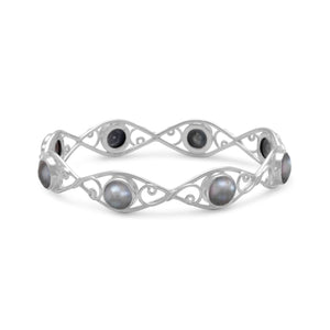 Silver Cultured Freshwater Pearl Bangle