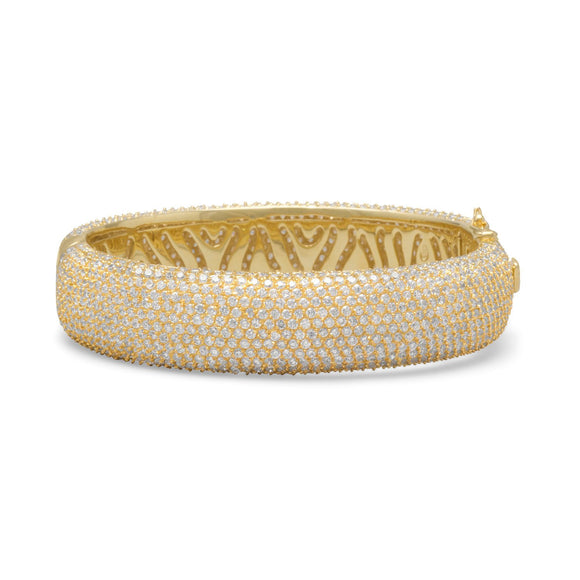 14 Karat Gold Plated Hinged CZ Bangle
