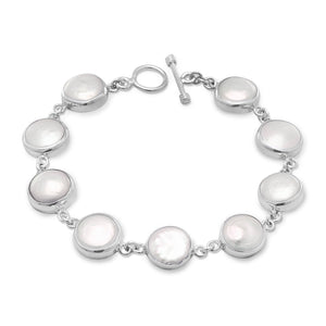 "8"" Cultured Freshwater Coin Pearl Toggle Bracelet"
