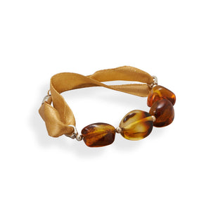 "7"" Ribbon Bracelet with Baltic Amber"