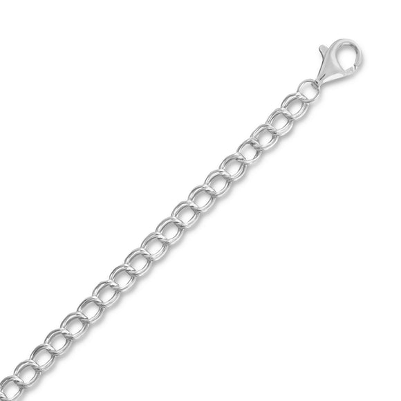 Rhodium Plated Charm Chain (4.0mm)