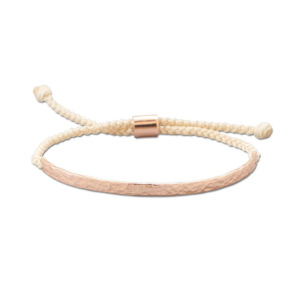 Adjustable Cream Cord Bracelet with 14 Karat Rose Gold Plated Textured Bar