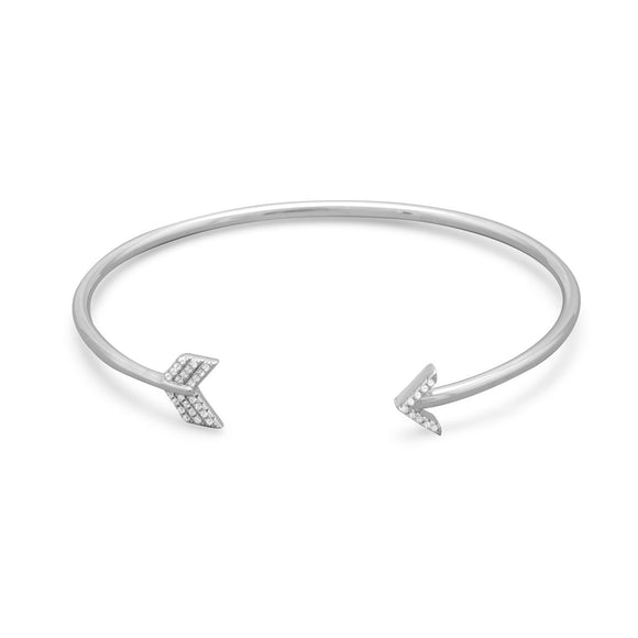Rhodium Plated CZ Arrow Cuff Bracelet