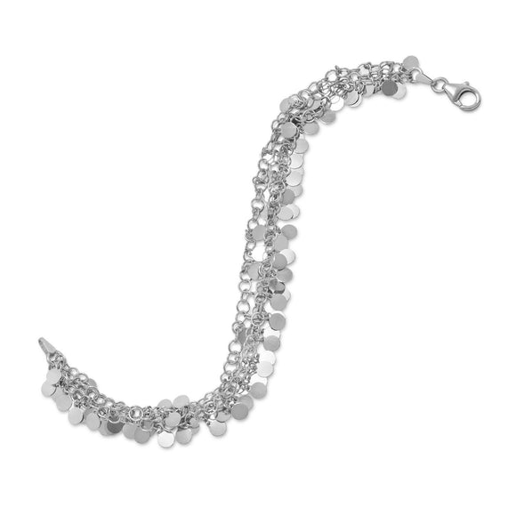 Rhodium Plated Polished Disk Drop Bracelet
