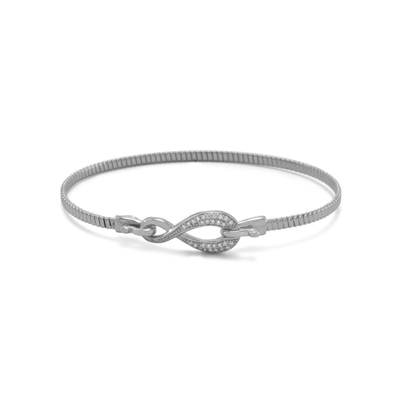 Rhodium Plated CZ Infinity Hook Bangle