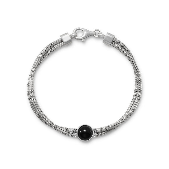 Rhodium Plated Double Mesh Strand and Black Onyx Bracelet