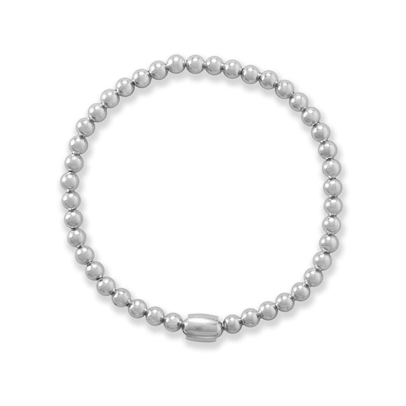 Rhodium Plated Bead Stretch Bracelet
