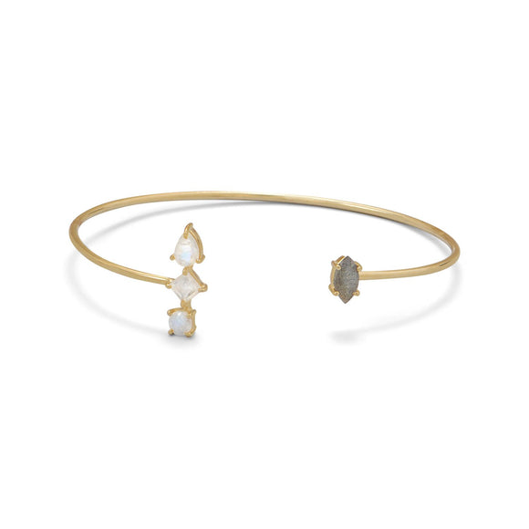 14 Karat Gold Plated Labradorite and Moonstone Split Bangle