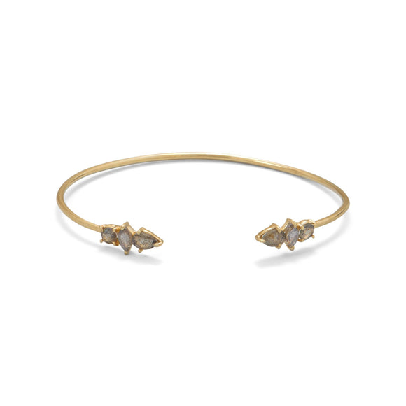 14 Karat Gold Plated Labradorite Split Bangle