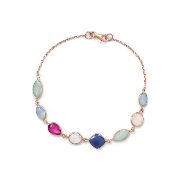 14 Karat Rose Gold Plated Multi Gemstone Bracelet