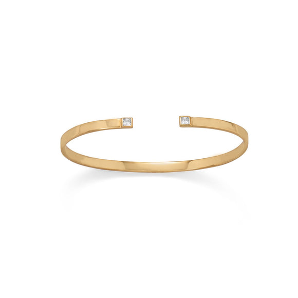 14 Karat Gold Plated CZ Thin Cuff Bracelet