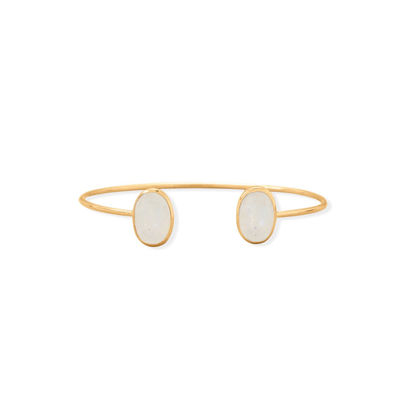 14 Karat Gold Plated Rainbow Moonstone Cuff Bracelet
