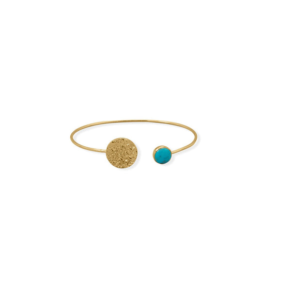 Turquoise and Hammered Disk Cuff Bracelet