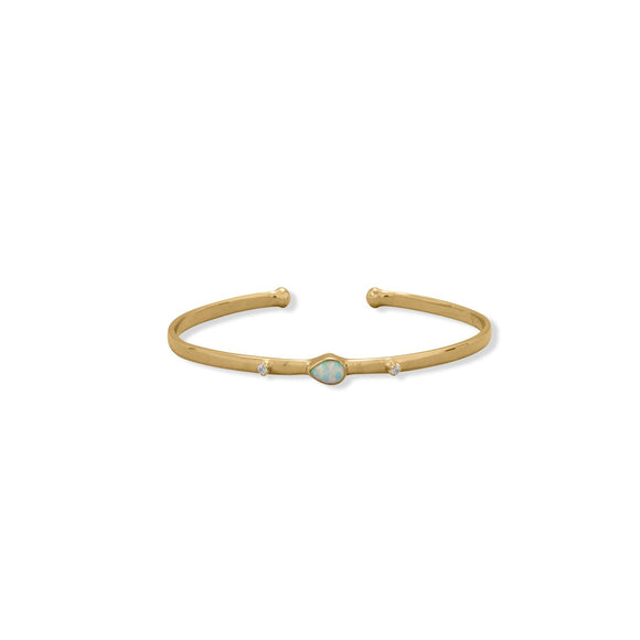 14 Karat Gold Plated Synthetic Opal and CZ Cuff Bracelet
