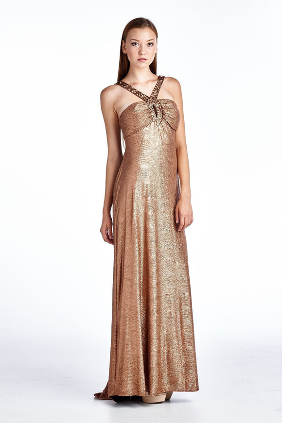 Women's Neck Applique Evening Gown