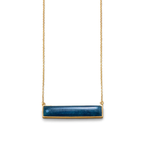 14 Karat Gold Plated Blue Aventurine Bar Necklace
