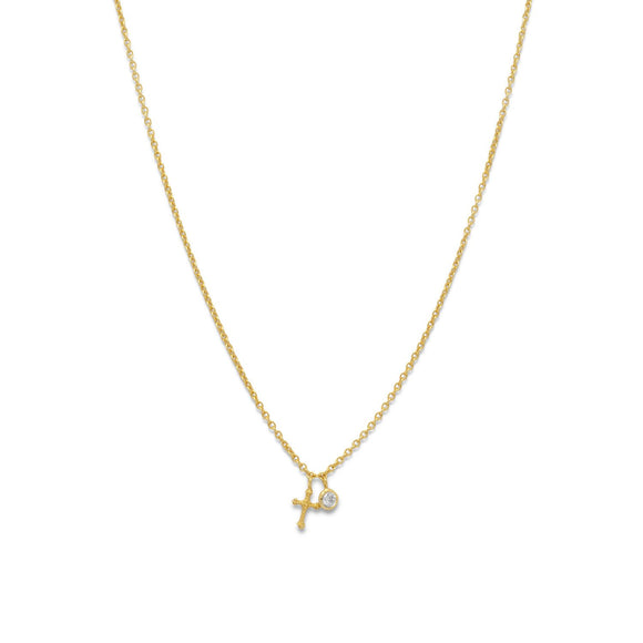 14 Karat Gold Plated Cross Charm Necklace
