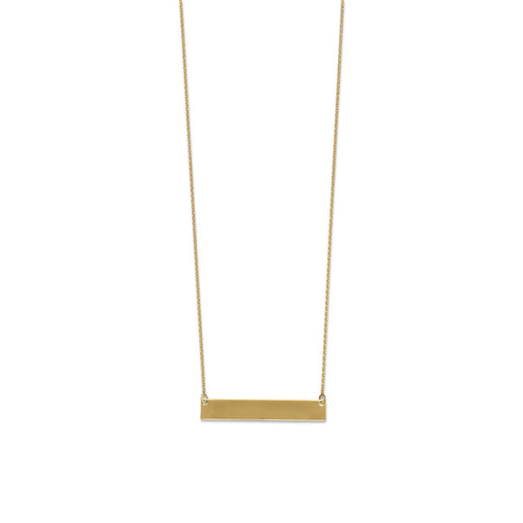 14 Karat Gold Plated Engravable Bar Necklace