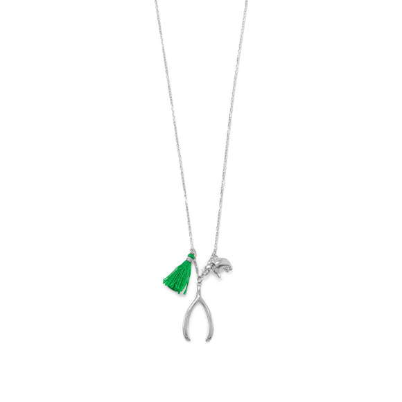 Rhodium Plated Green Tassel Multicharm Necklace