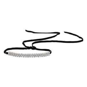 Black Velvet Wrap Choker Necklace with Cultured Freshwater Pearls and CZs