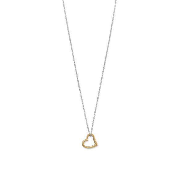 Two Tone Open Heart Necklace