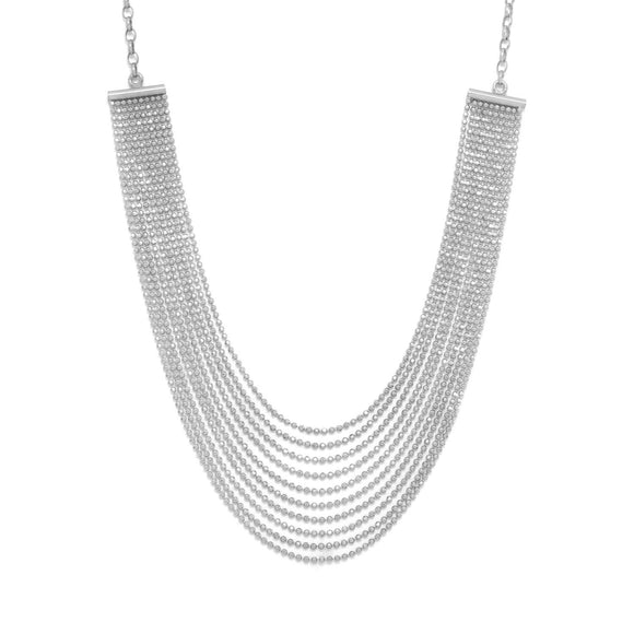 Rhodium Plated Faceted Bead Necklace