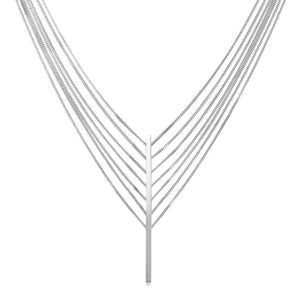 Rhodium Plated 7 Strand Bar Drop Necklace