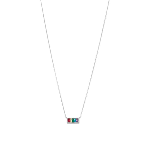 Rhodium Plated Rainbow Bar Necklace