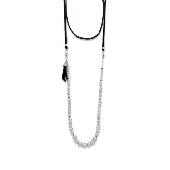 4-Way Suede and Silver Bead Necklace