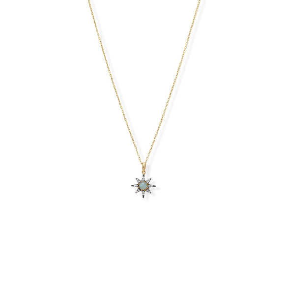 14 Karat Gold Plated and Black Rhodium CZ Star and Synthetic Opal Necklace