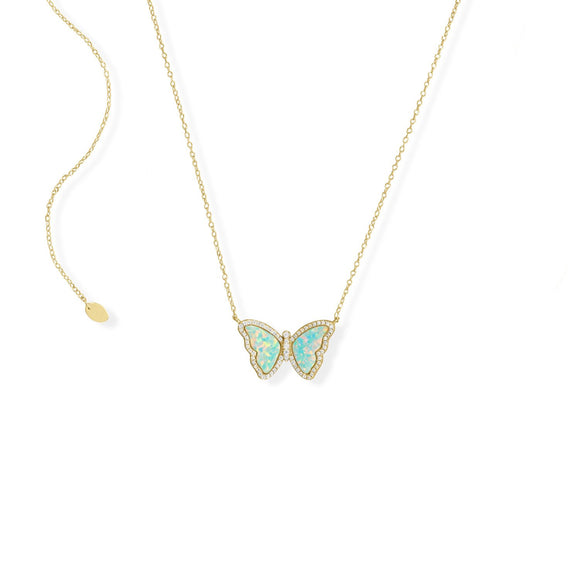 Adjustable Synthetic Opal Butterfly and CZ Necklace