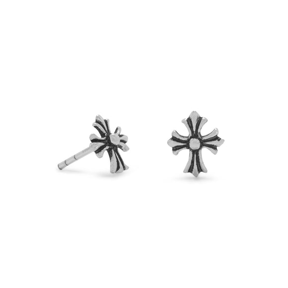 Small Oxidized Cross Post Earrings