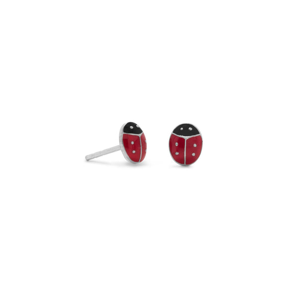 Enamel Ladybug Post Earrings