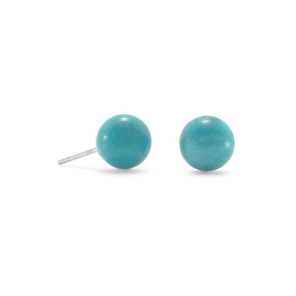 Reconstituted Turquoise Stud Earrings