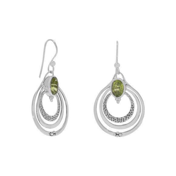 Oxidized Triple Circle with Peridot Earrings