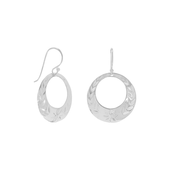 Floral Design Diamond Cut Circle Earrings