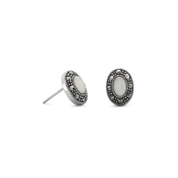 Marcasite and Shell Stud Earrings