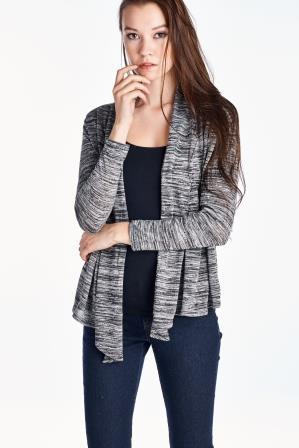 Women's Long Sleeve Black & Grey Melange Knit Open Cardigan