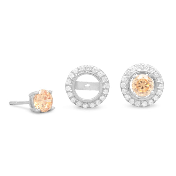 Rhodium Plated CZ Frame Earring Jackets. Pink CZ Stud Earrings Sold Separately.