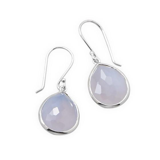 Pear Shape Freeform Faceted Blue Chalcedony Earrings